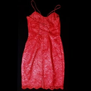 Jessica McClintock Gunne Sax Lace Up Back Red Mini